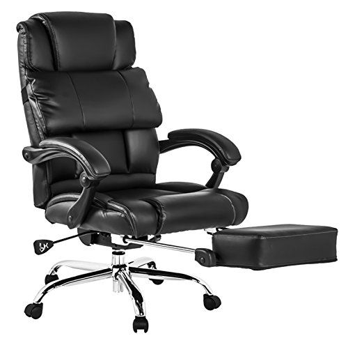 Btm Luxury High Back Executive Faux Leather Office Chair Swivel Recliner And Footstool Computer Boss
