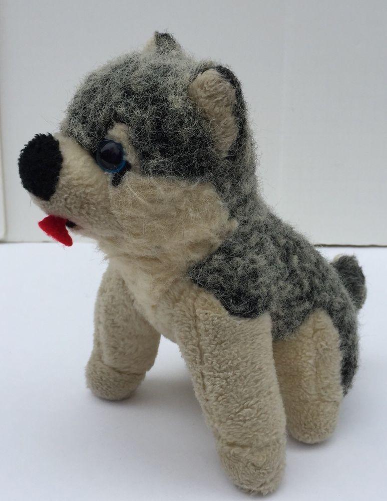 Vintage Siberian Husky Alaskan Gray White Dog Plush Red Tongue