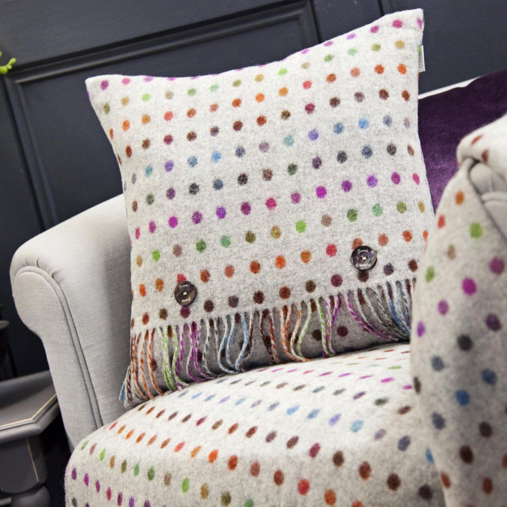 Bronte by Moon Grey Multi Spot Check Lambswool Cushion - Trouva