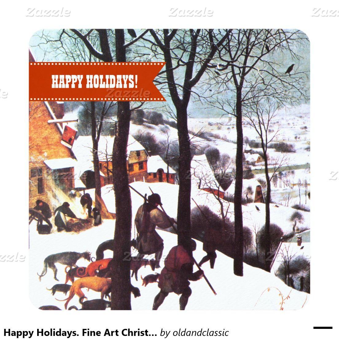 Happy Holidays Fine Art Christmas Greeting Cards Vintage