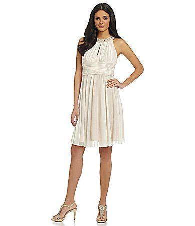 Jessica Howard Ruched Halter Neckline Dress #Dillards | engagement ...