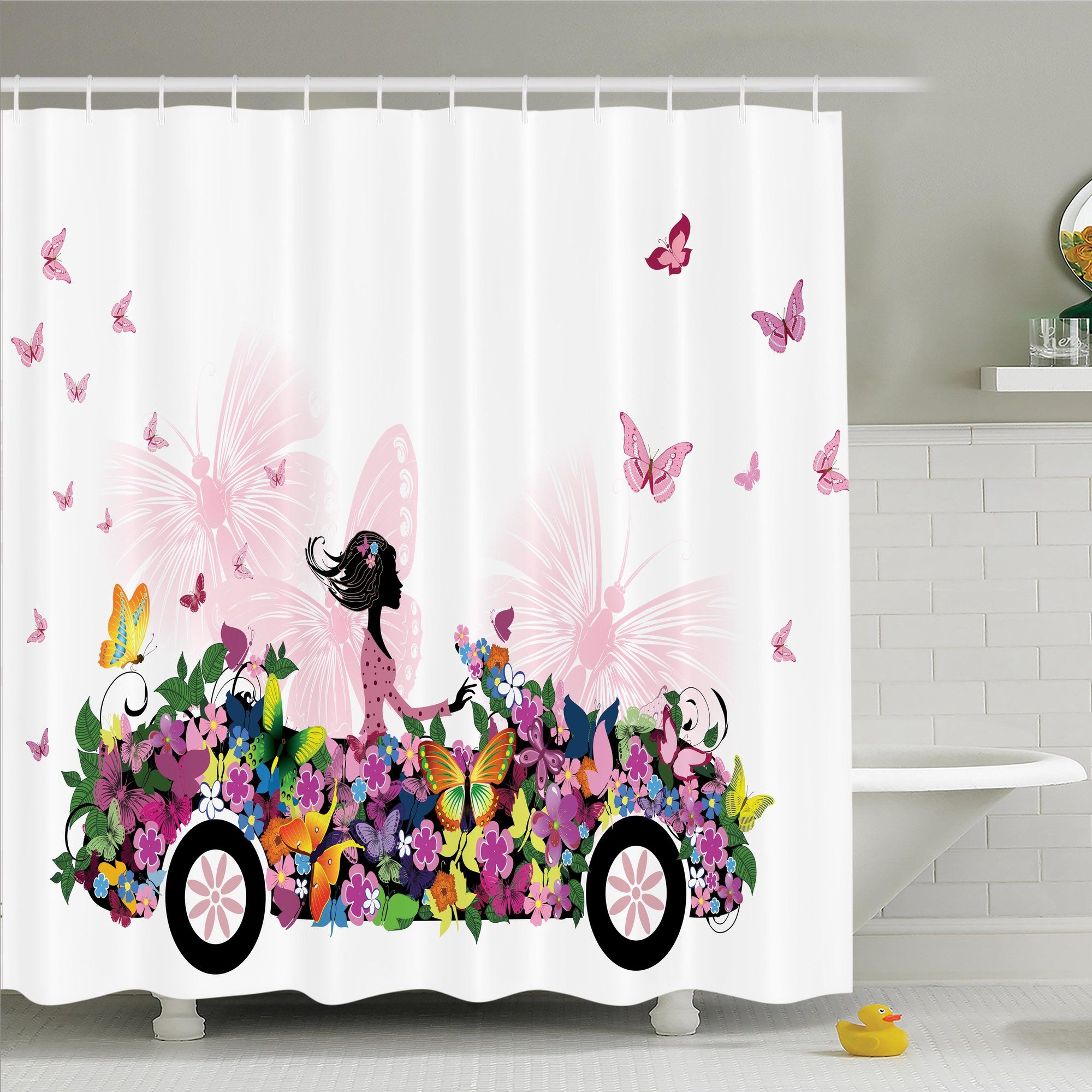 Floral Car Butterflies Shower Curtain Set Butterfly Shower