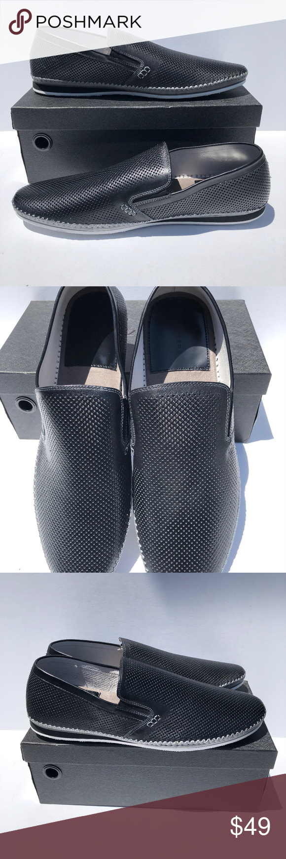 1a164c68017 MEN S Zanzara Merz Leather Slip-On Shoes Black New Brand New In Box MEN S  Zanzara