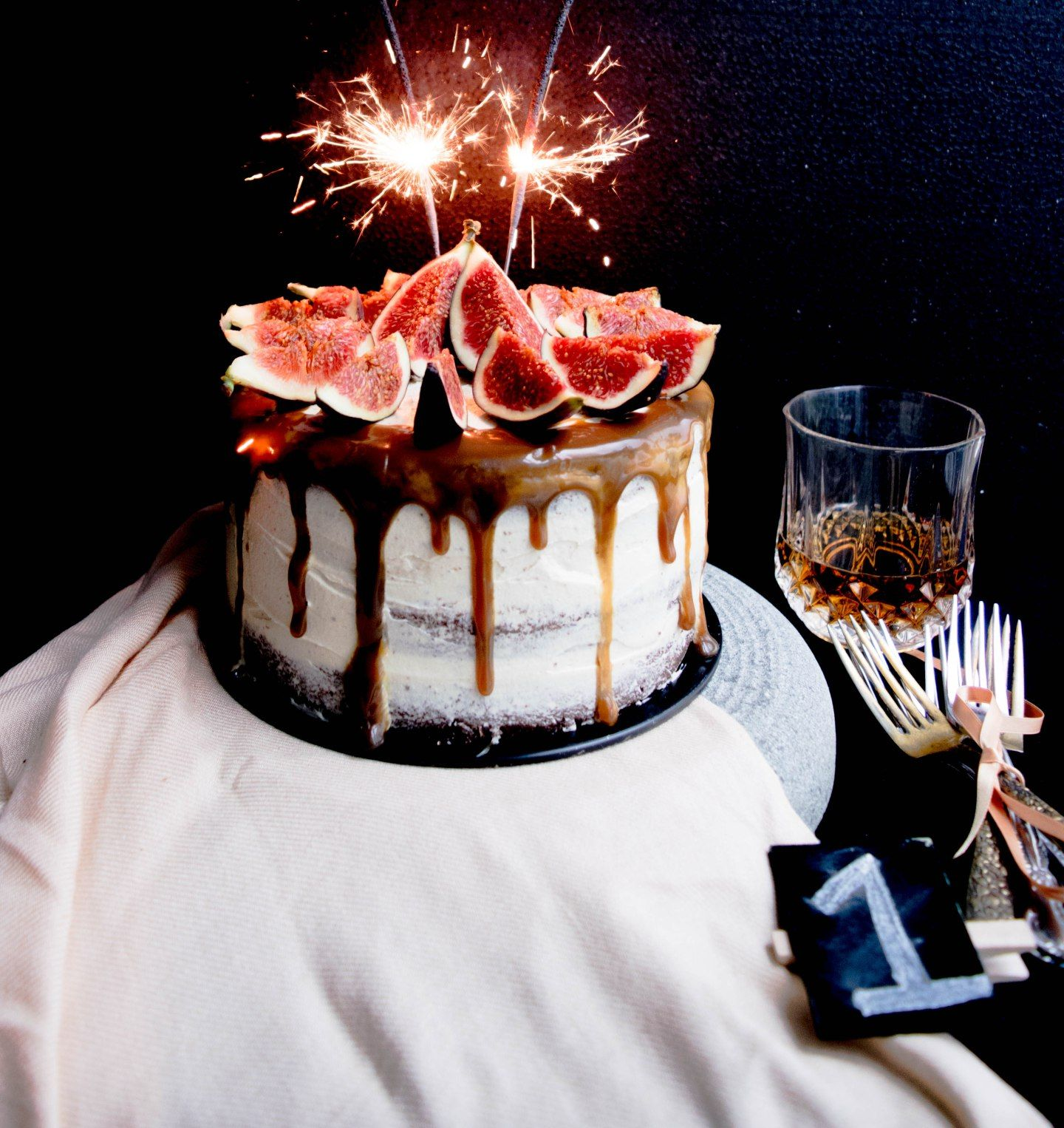 Chocolate honey whiskey cake with figs and salted