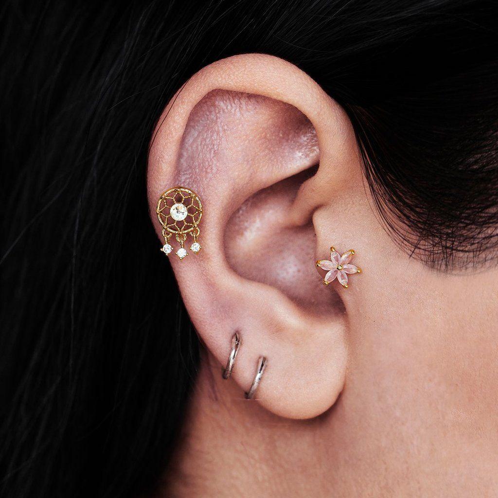 Double Stud Ear Climber Grey Ear Jacket Chain Tassel Double Piercing Earring Two Hole Chain Fringe Earring Chainmail Earrings