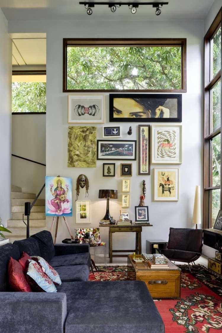 Bilderwand und Orientteppich im modernen Wohnzimmer | Boho Living ...