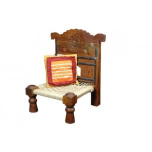 High Quality Antique Style Low Chair Low Wooden Chair   A Unique Design With The Seat  Made Using