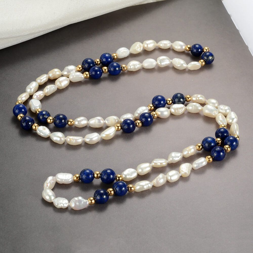 Vintage Freshwater Pearl and Lapis Lazuli Beaded Necklace Gemstone Jewelry is part of Beautiful beaded necklaces, Beaded jewelry, Beaded fashion necklace, Gemstone jewelry, Bead jewellery, Handmade jewelry - This is a 30