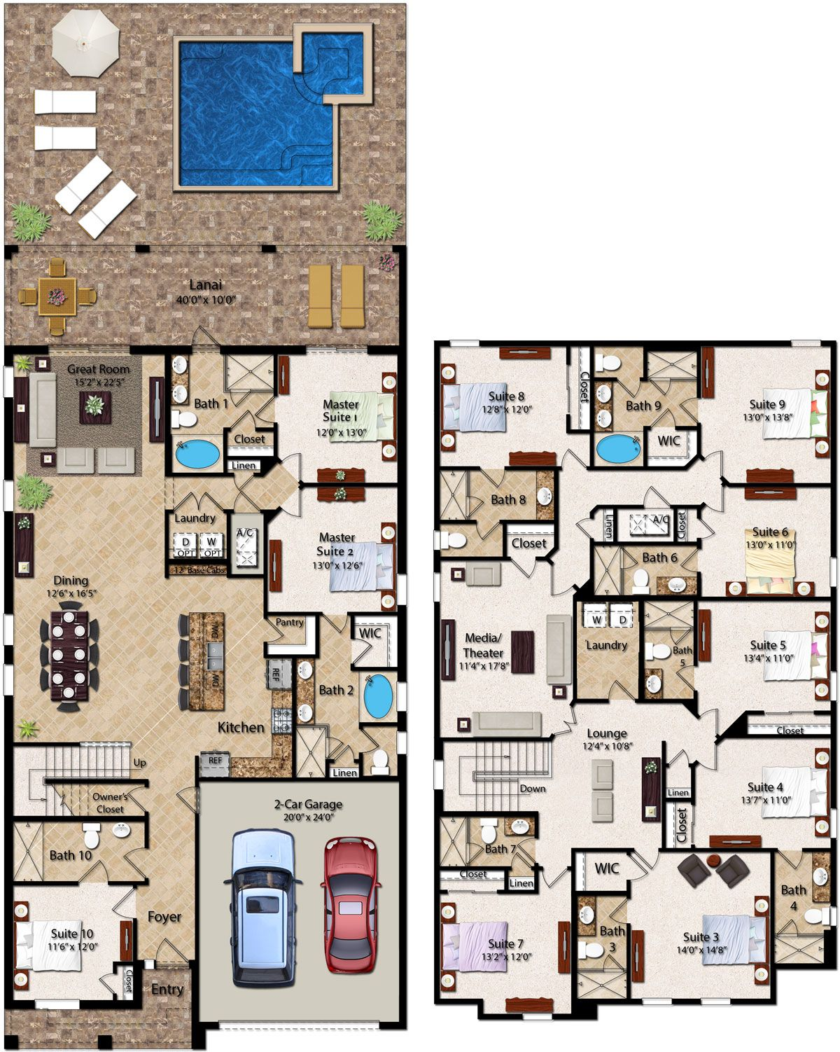 10 Bedroom Homes With 4 724 Square Feet The Two Story 10 Bedroom Residence Features Three Master Suites Two On House Layout Plans House Plans House Layouts