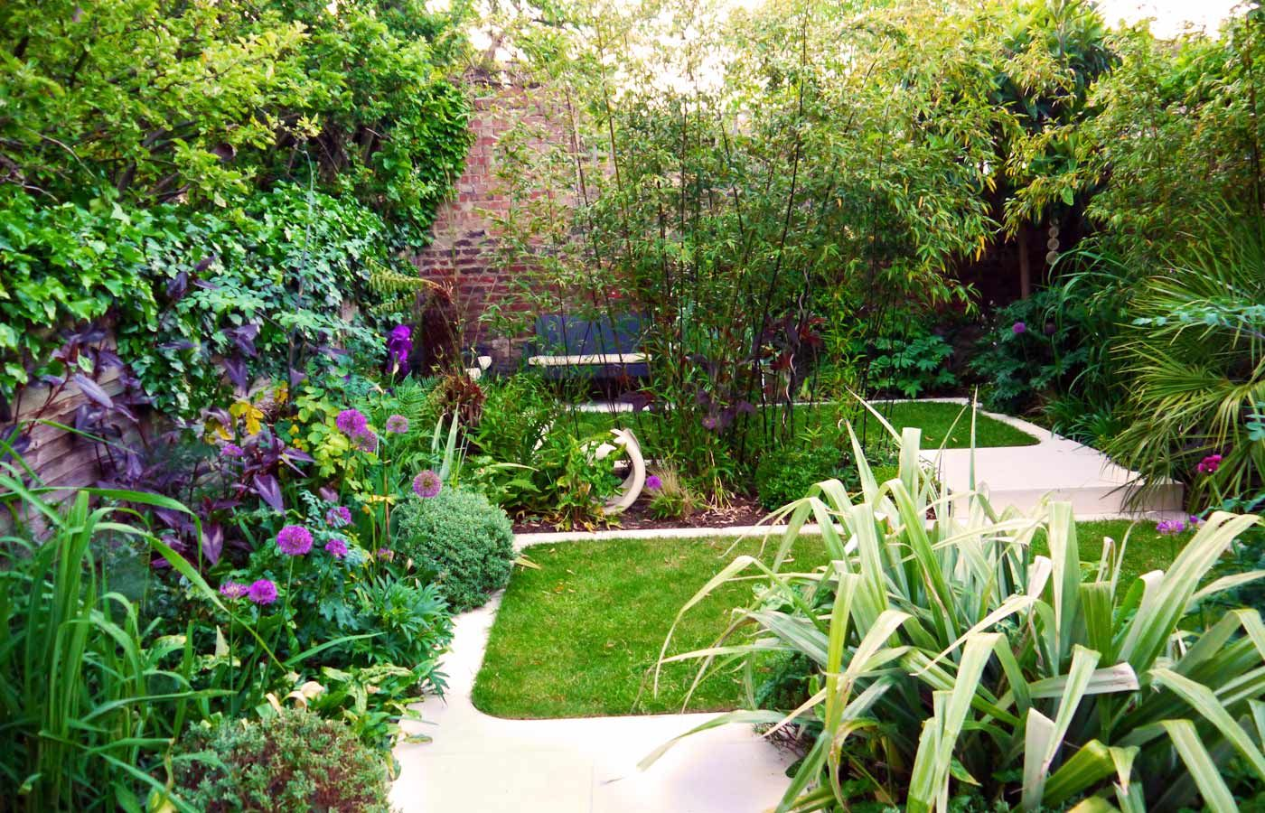 Modern Town Garden With Limestone Paving And Evergreen Planting Echinops Garden Design