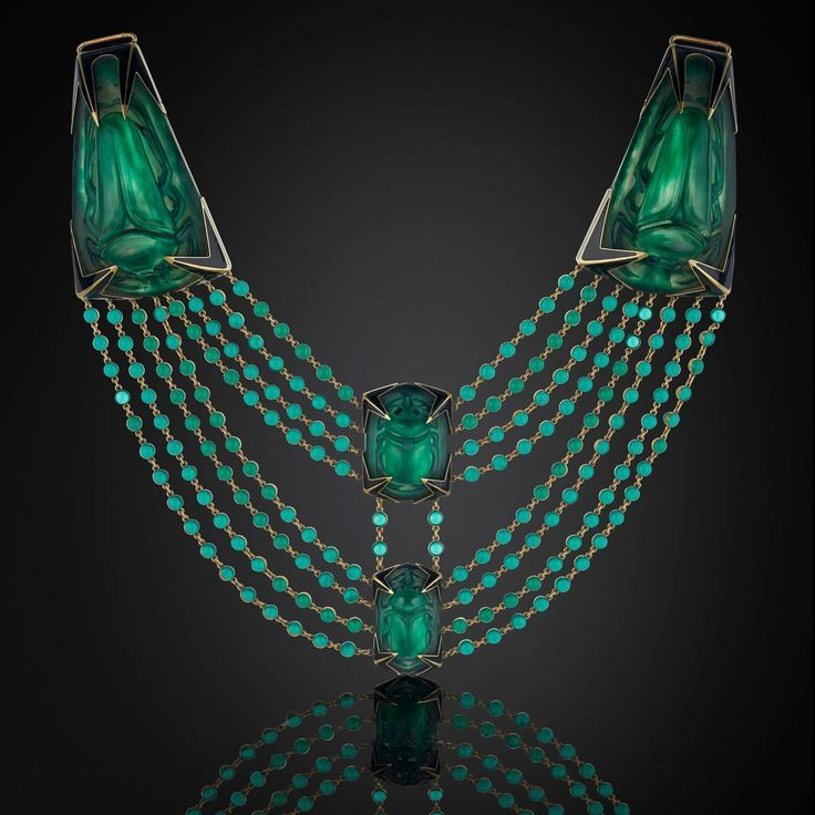This stunning glass René Lalique beetle necklace, circa 1905, is for sale by Wartski of London