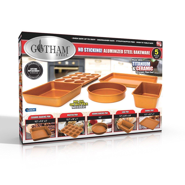 Gotham Steel 5 Piece Copper Bakeware Set With Nonstick Ti Cerama