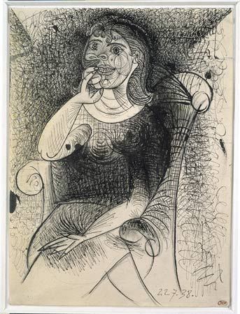 Pablo picasso woman in an armchair pen and india ink on pencil strokes 27 x 20cm