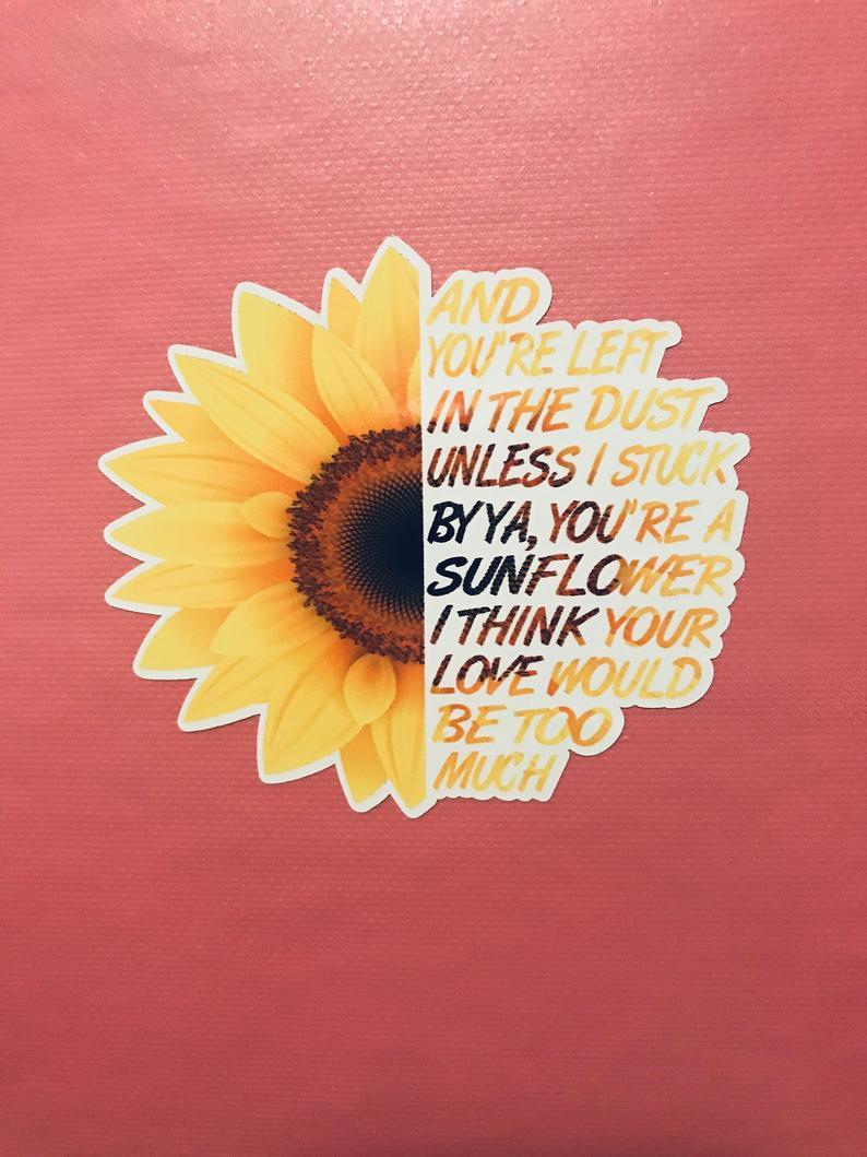 Decal Post Malone Sunflower Sticker In 2020 Post Malone Wallpaper Post Malone Lyrics Sunflower Iphone Wallpaper