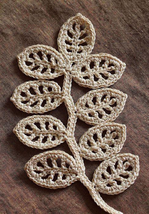 Inspiring knit crochet patterns and tutorials crochet leaves outstanding crochet irish crochet branch patterntutorial crochet leaf patternscrochet dt1010fo