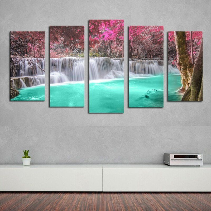 waterfall serenity - 5 piece canvas painting | serenity, printable