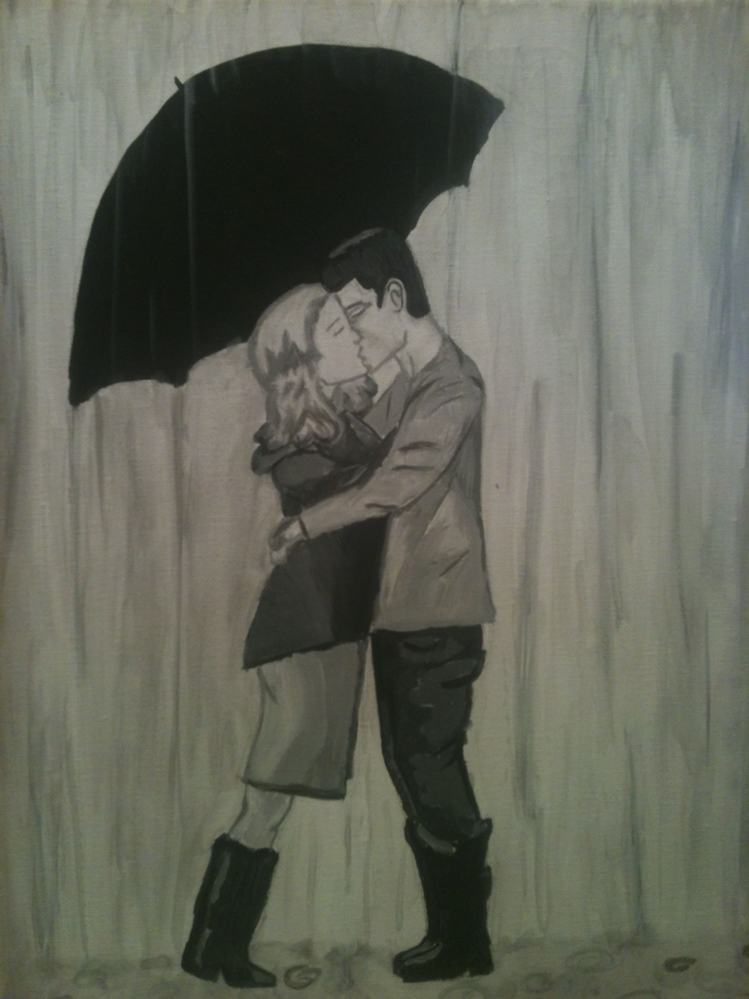 canvas painting couple kissing in rain art in my heart