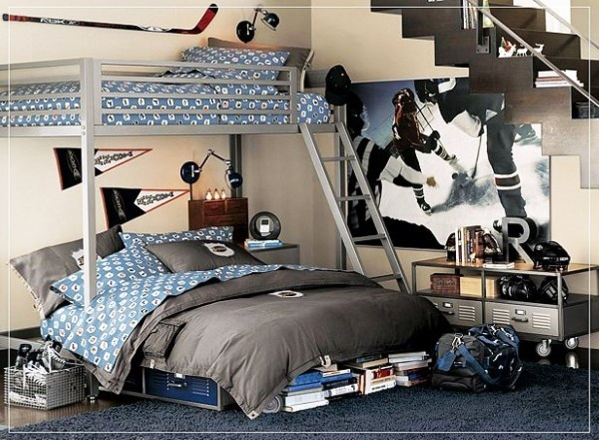 Impressive Shared Boys Bedroom Design With One Loft Bed And Blue Beddings  And Beige Wall Paint