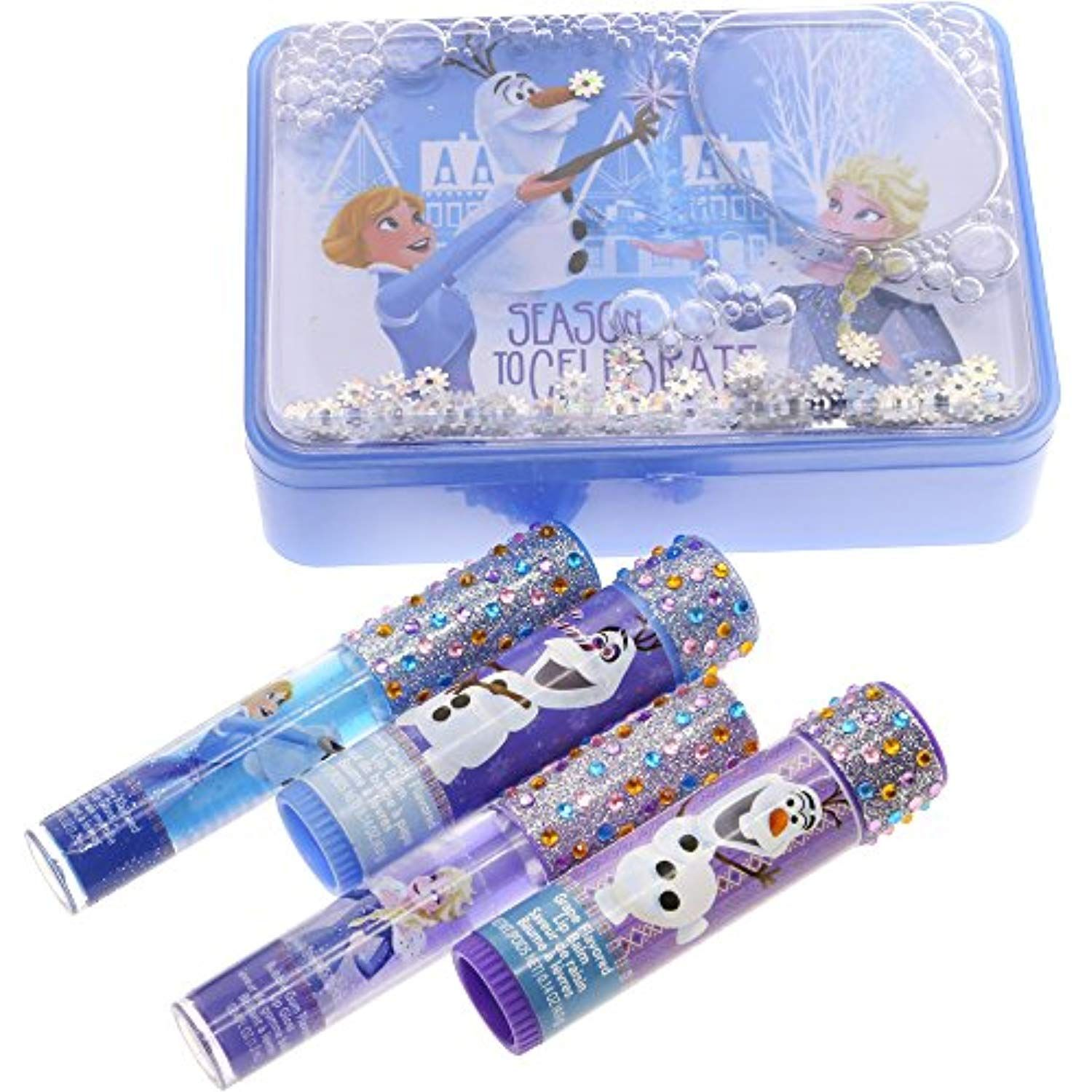 Townley Girl Frozen Sparkly Lip Set For Girls, 4 pack with
