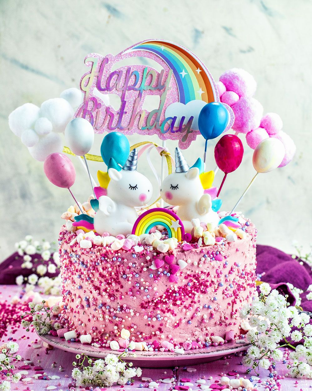Photo of Einhorn-Torte – einfaches Rezept für Mädchen Geburtstagstorte – rosa pink