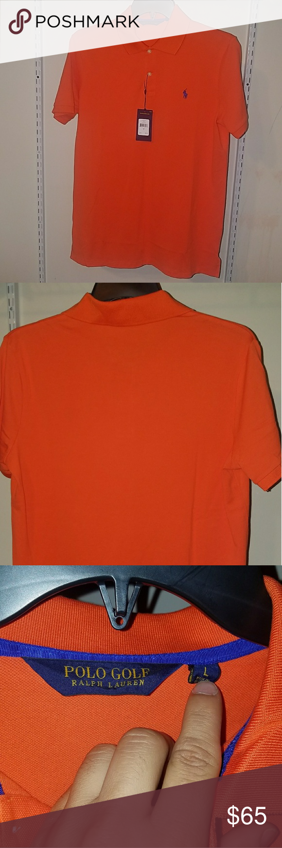A03 Ralph Lauren Polo Golf Shirt Active Orange Brand new Polo Golf Shirt Large NWT 97% cotton 3% elastane 21' chest 31' length 18' arm sleeve from middle of the collar measurement to the shoulder and sleeve. Active Orange with Navy Blue Polo horse logo Polo by Ralph Lauren Shirts Polos