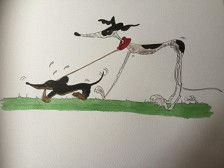 Nog een creatie van Nellie Doodles - hound liefde. Dit is een A4-afdruk op geweven papier.