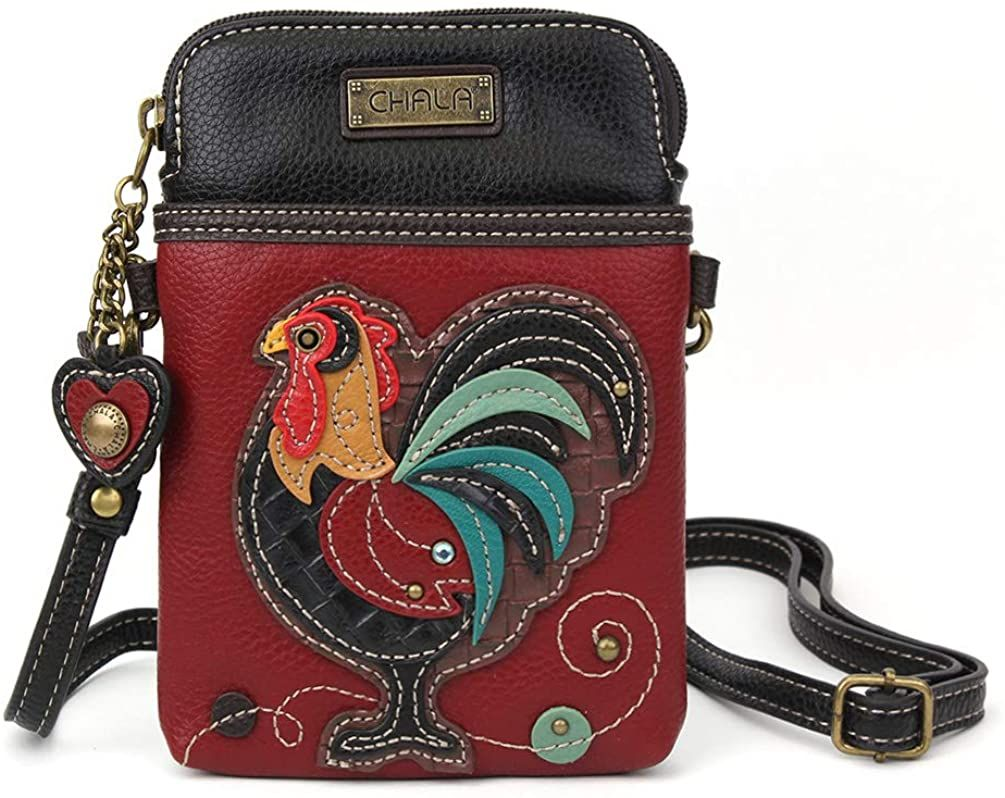 Chala Crossbody Cell Phone Purse-Women Multicolor Handbag with Adjustable Strap - Rooster Burgundy