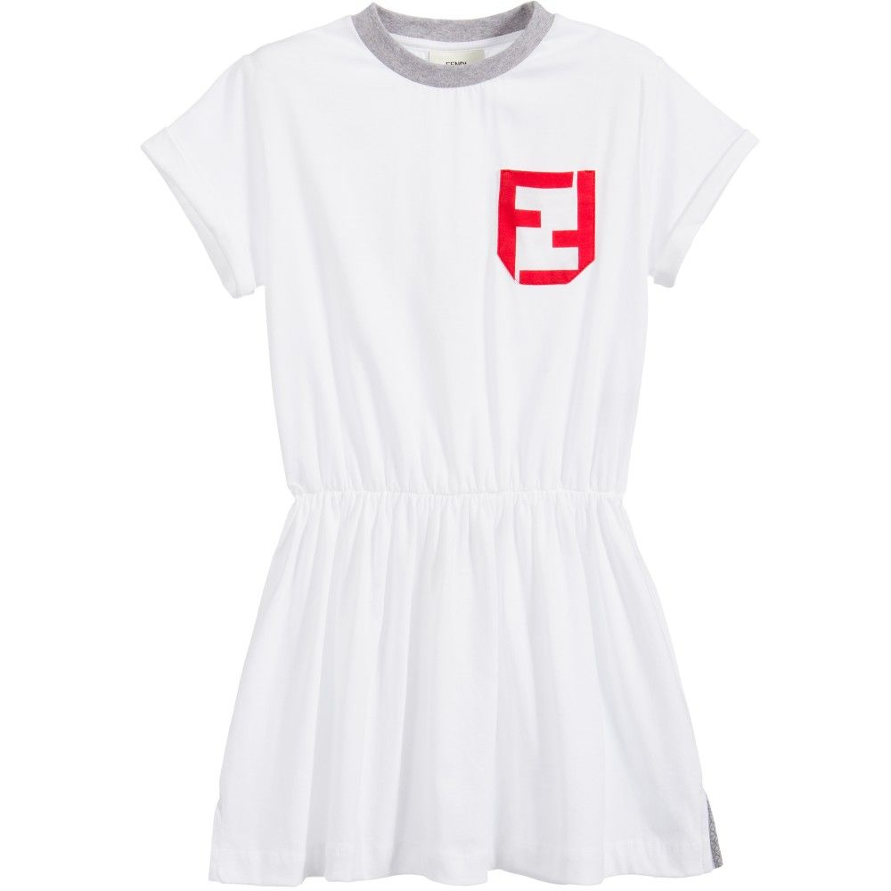 Fendi White Cotton Jersey Ff Logo Dress Clothes Fashion Forward Kids Fendi Kids [ 1000 x 1000 Pixel ]