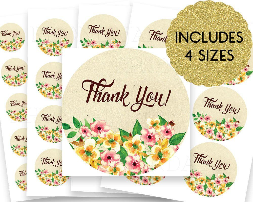 Thank you stickers thank you tags thank you labels round thank you stickers floral sticker design floral 200 16 by rhondajai on etsy