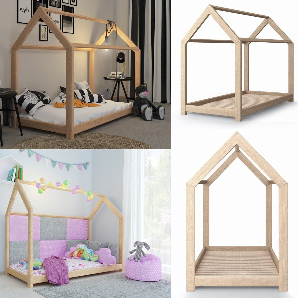 kinderbett kinderhaus bett kinder holz haus schlafen spielbett hausbett 90x200 karolinas. Black Bedroom Furniture Sets. Home Design Ideas