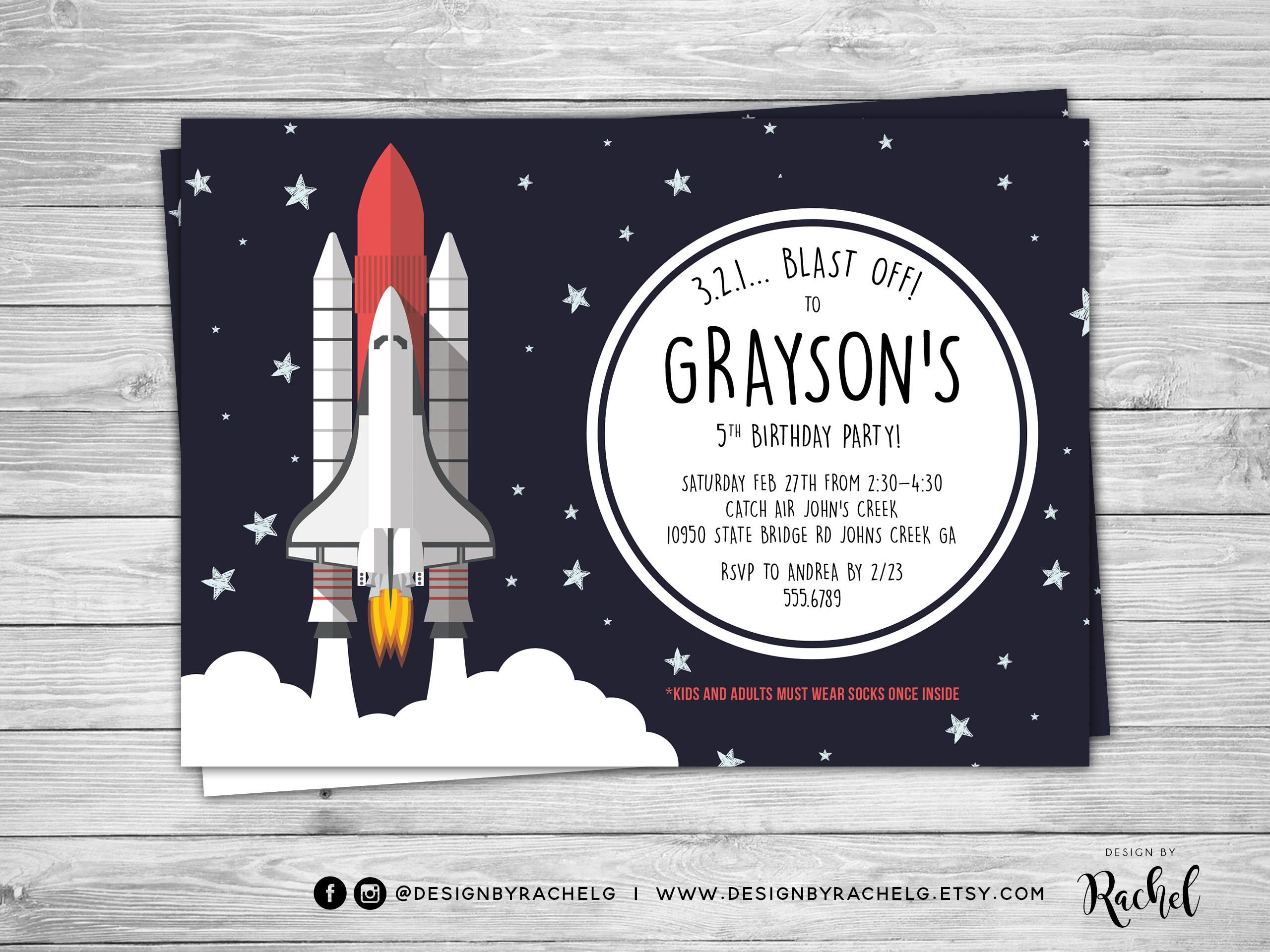 Space Shuttle Birthday Invitation Spaceship Birthday
