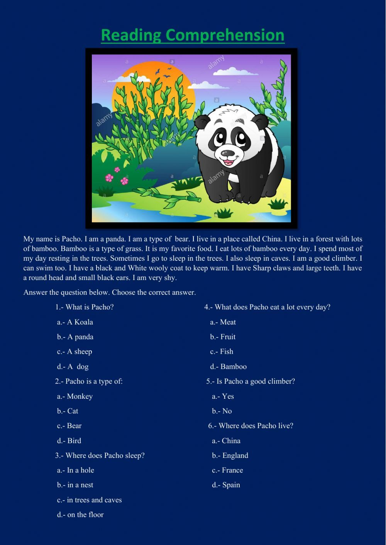 Panda Bear Interactive Worksheet Reading Comprehension English As A Second Language Esl English As A Second Language [ 1413 x 1000 Pixel ]