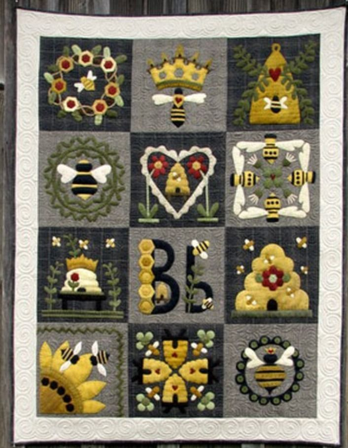 Blessed Bee All Wool Appliqué Block of The Month Quilt Kit $325 ... : wool applique quilt kits - Adamdwight.com