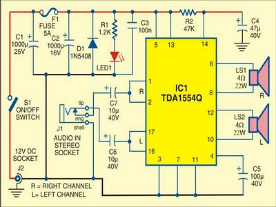 44 Watt Mobile Car Stereo Amplifier - schematic | AMPLIFIER | Pinterest