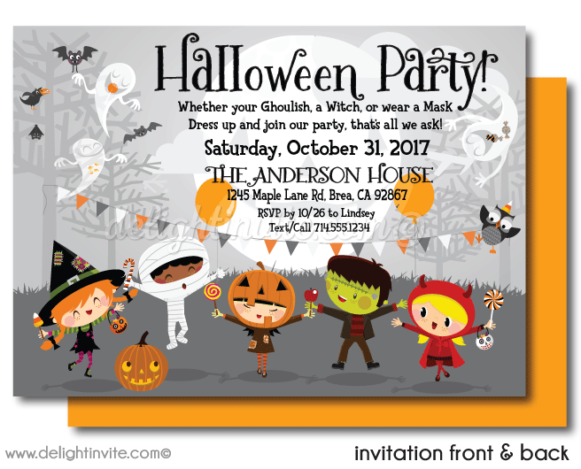 Kid Friendly Halloween Party Invitations Printed Invites For Kids Costume Children