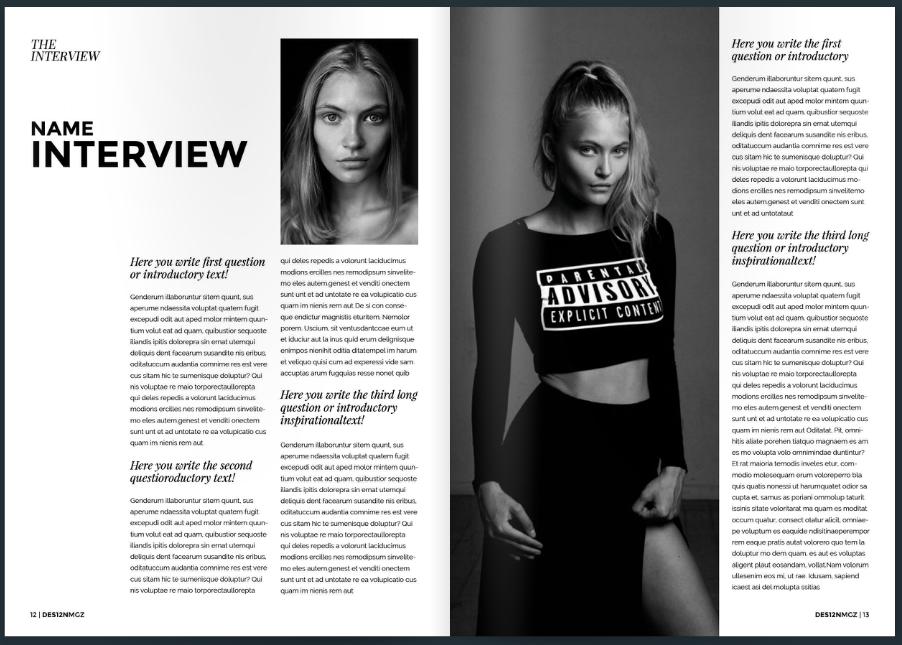 Double page spread magazine