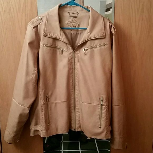 NWOT! Jou Jou Faux Leather Jacket Never worn!  Beautiful and soft faux leather  Zippers at sleeve cuffs  4 zipper pockets Size 3x but fits more like a 2x Jou Jou Jackets & Coats