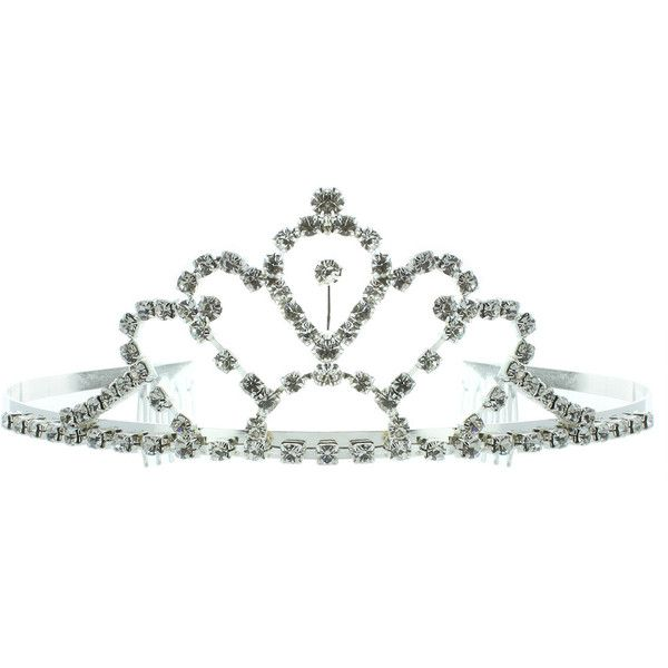 Kate Marie 'Faith' Silvertone Rhinestone Tiara with Hair Combs ($17) ❤ liked on Polyvore featuring accessories, hair accessories, tiaras, jewelry, crowns, hair, crown hair comb, tiara crown, rhinestone tiara and rhinestone hair accessories