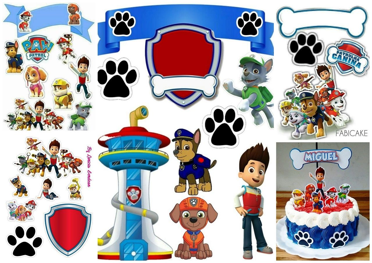 Paw patrol birthday party free printable cake toppers