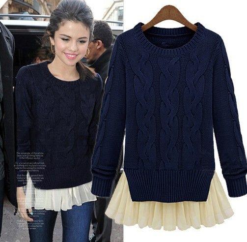 Moda otoño e invierno delgado manga larga de dos piezas suéter del suéter  medio largo sandía roja para mujer suéter azul 4f48f888c62e