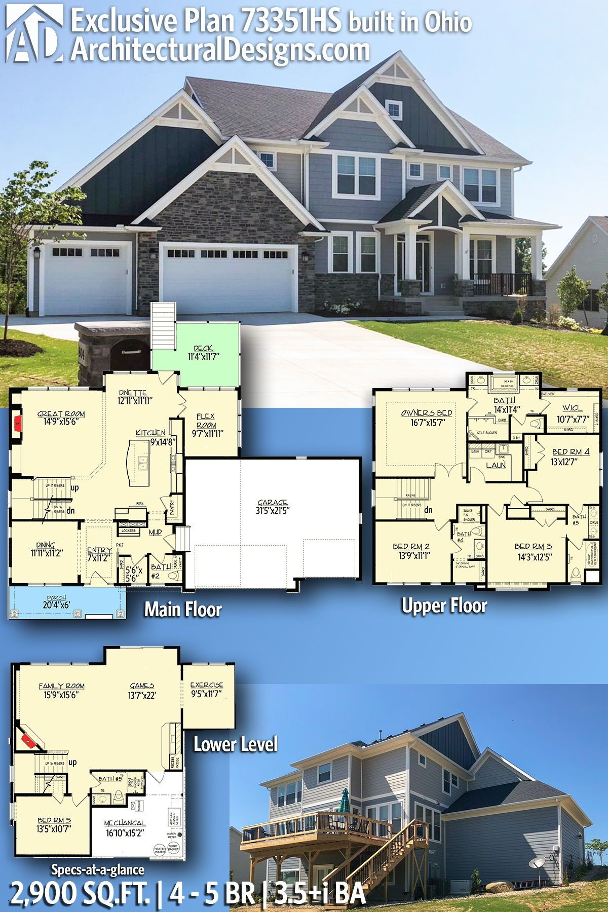 Plan 73351hs High End Style Exclusive House Plan Sims House Plans Craftsman House Plans