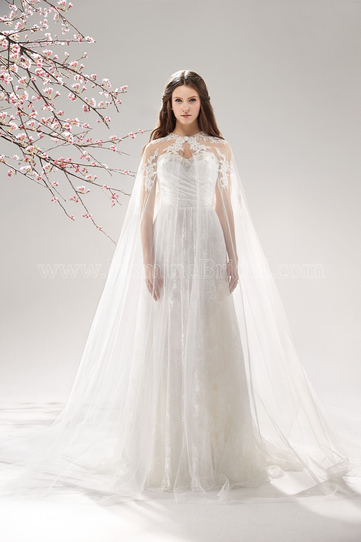 Lace dress with cape  Jasmine Bridal  Wedding  Pinterest  Jasmine bridal Beaded lace