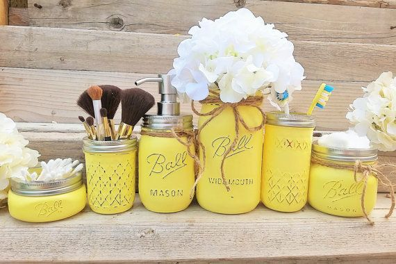 Yellow Mason Jar Bathroom Set, Yellow Bathroom Decor, Yellow Bathroom Set, Bathroom Organization, Yellow Bath Set, Bathroom Decor,Mason Jars images
