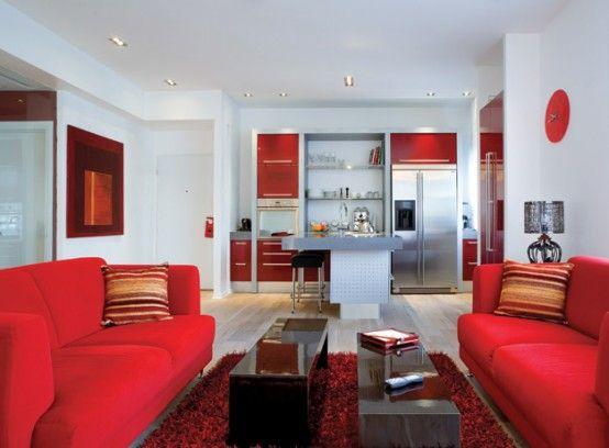 Red White Apartment Interior Decor Apartment Decorating Living Red Living Room Decor Best Home Interior Design