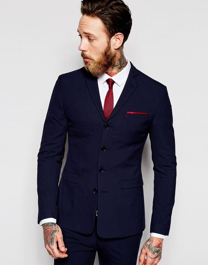92123f054 ASOS BRAND ASOS Super Skinny Four Button Suit Jacket in Navy ...