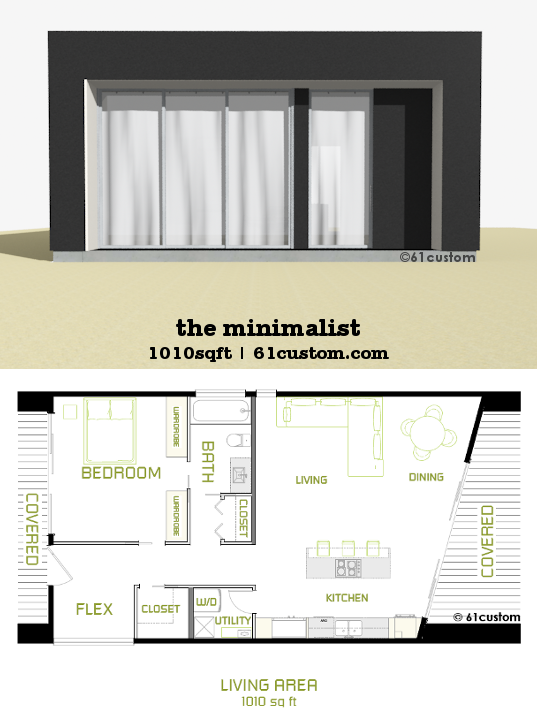 The Minimalist Small Modern House Plan 61custom Spaces House