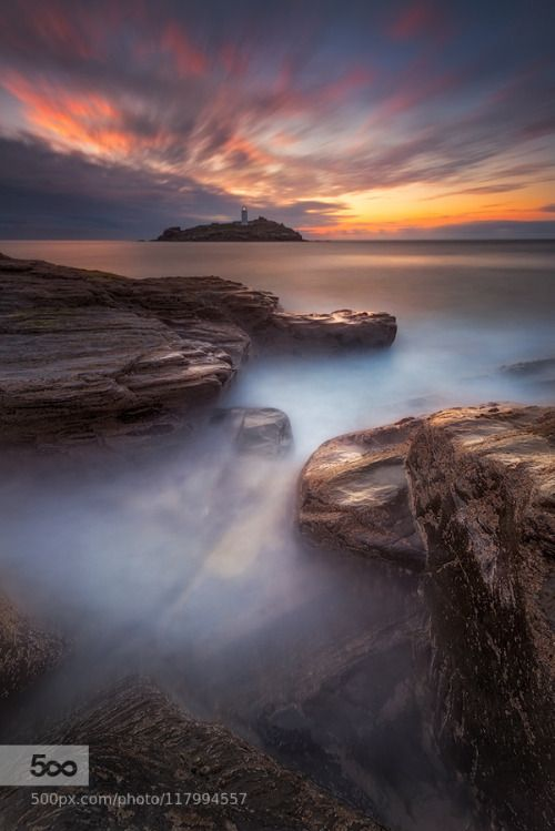 Guide me Home by AlisterBenn  Alister Benn Cornwall England Godrevy Lighthouse Seascapes Sunset Tours UK Workshops Guide me Home A