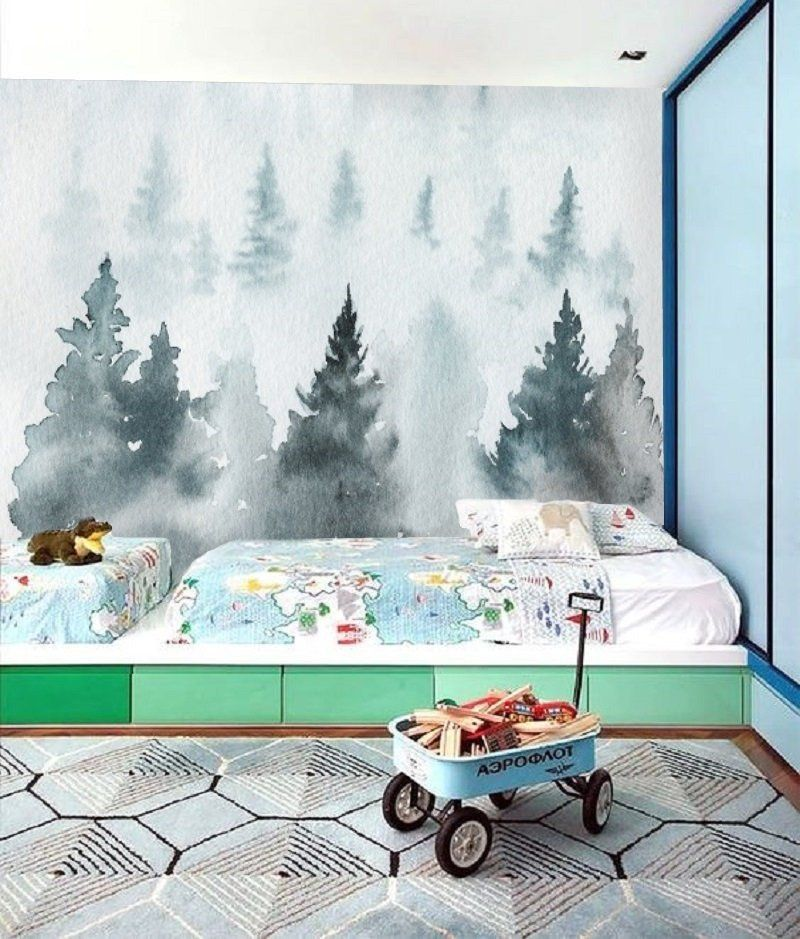 Blue Forest Watercolor Removable Wallpaper Peel and Stick