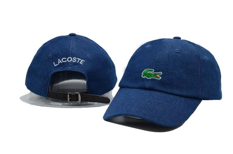 Mens / Womens Unisex Lacoste Crocodile Embroidery Logo Leather Strap Back  Baseball Adjustable Hat - Denim