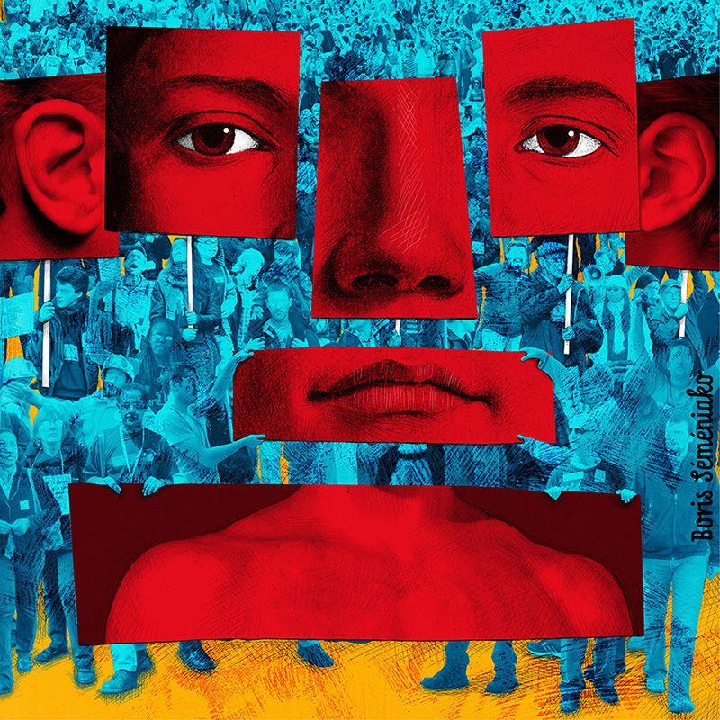 """Boris Séméniako - Illustration pour Le Monde - Texte d'Alain Badiou """"Le rouge et le tricolore"""""""
